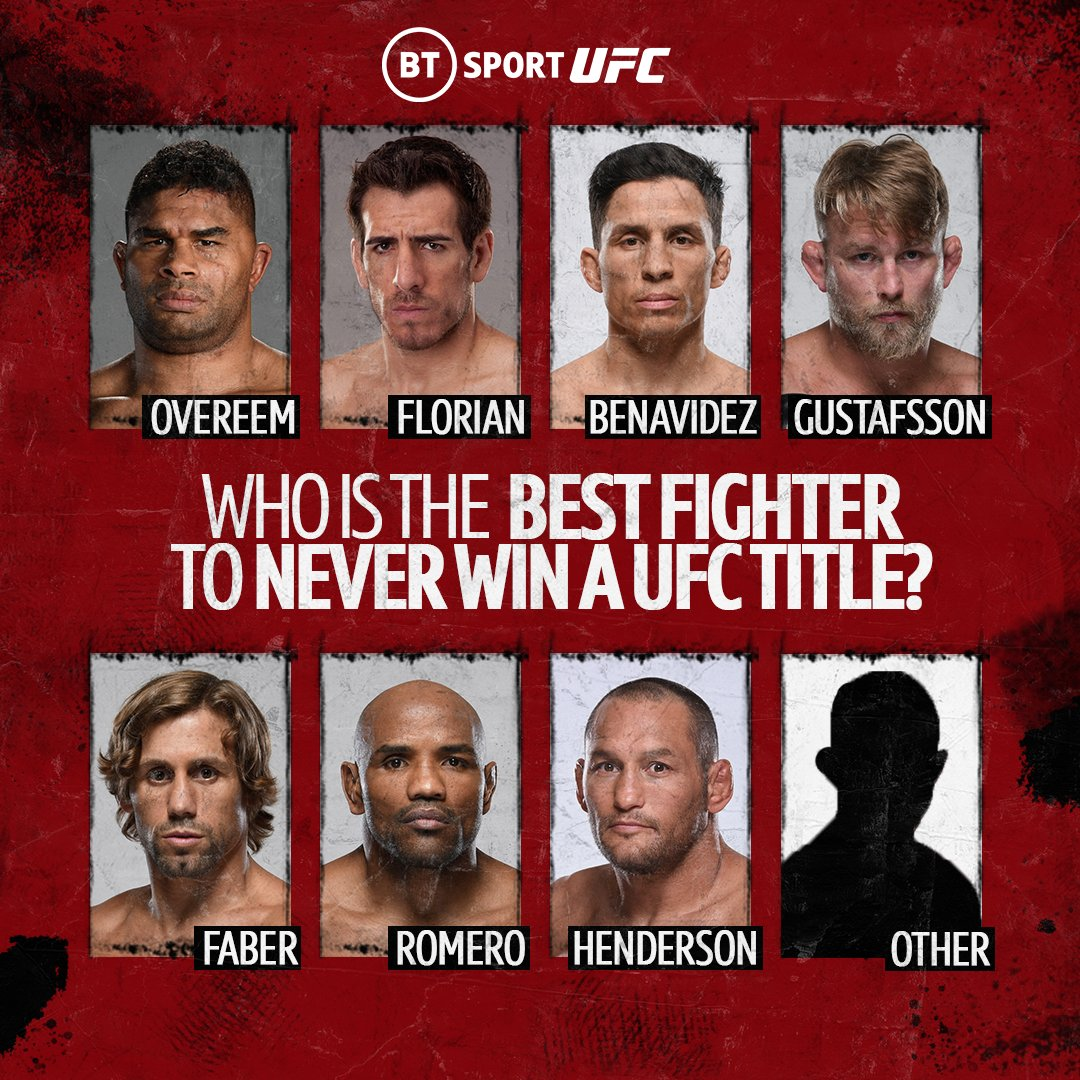 Alistair Overeem's departure from the UFC will see him go down as one of the greatest fighters to never get their hands on UFC gold.  But we want to know who is the best fighter to never win a UFC title? 🤔 https://t.co/PGrZxmT7G7
