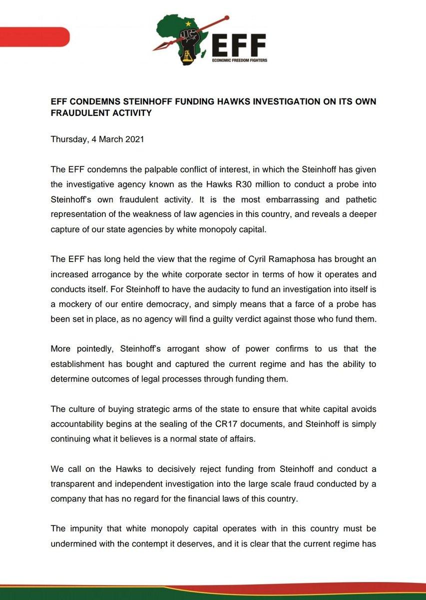 EFF Condemns Steinhoff Funding Hawk Investigation On Its Own Fraudulent Activity https://t.co/VsYilDpSXI