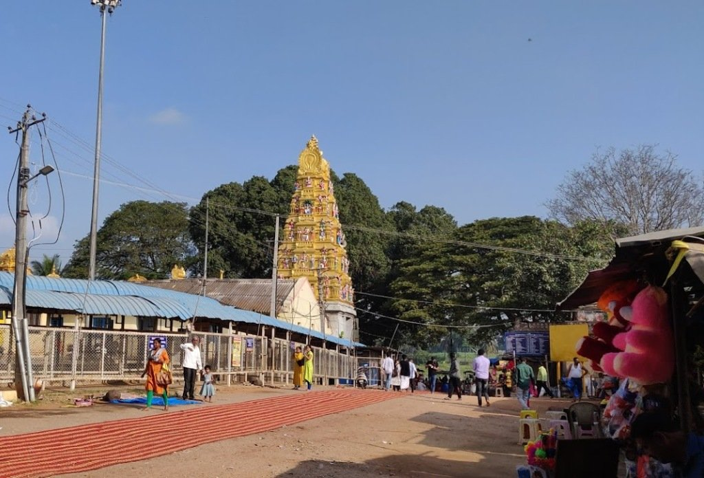 Nimishamba Temple,Srirangapatna, Karnataka. The temple is situated in the island of Srirangapatna on the banks of the Cauvery River.The Temple is believed to be built during the reign of Raja Wodeyar I (1578-1617 A.D) who ascended the Mysore throne at Srirangapatna.