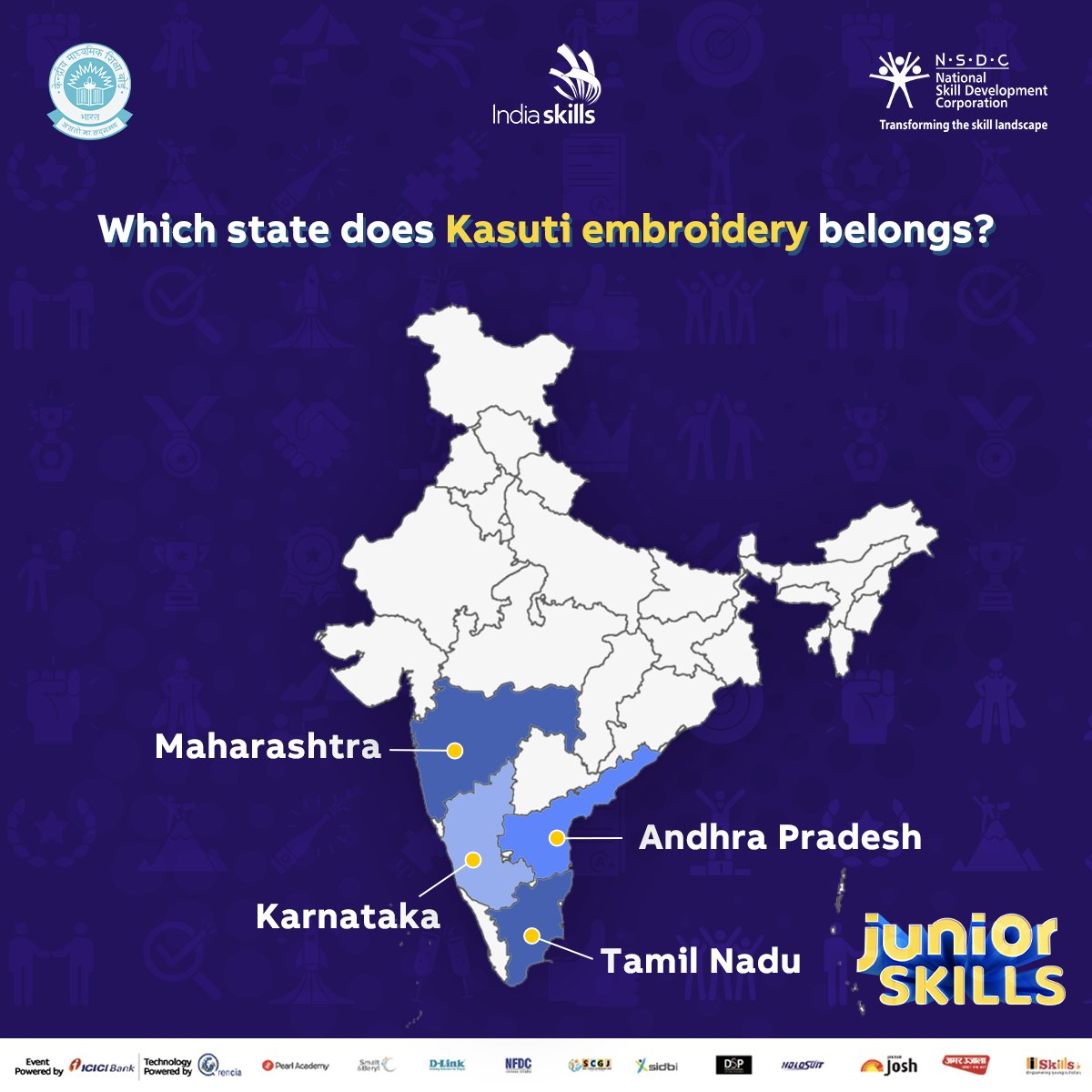 #TRIVIA TIME Do you know what state Kasuti, a traditional form of folk embroidery sometimes involving up to 5,000 stitches by hand, come from? Tell us in the comments below.  Register for the Fashion Tech. competition with #JuniorSkills using this link