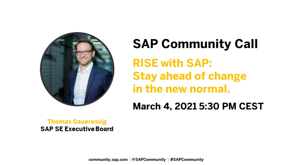 ⏰ Last call! Starting soon.   Join @thsaueressig, learn about the Business Transformation as a Service offering, RISE with SAP and get answers to your questions.  Register here: https://t.co/9yax3W9rR4 https://t.co/HLU0CxZZ3g