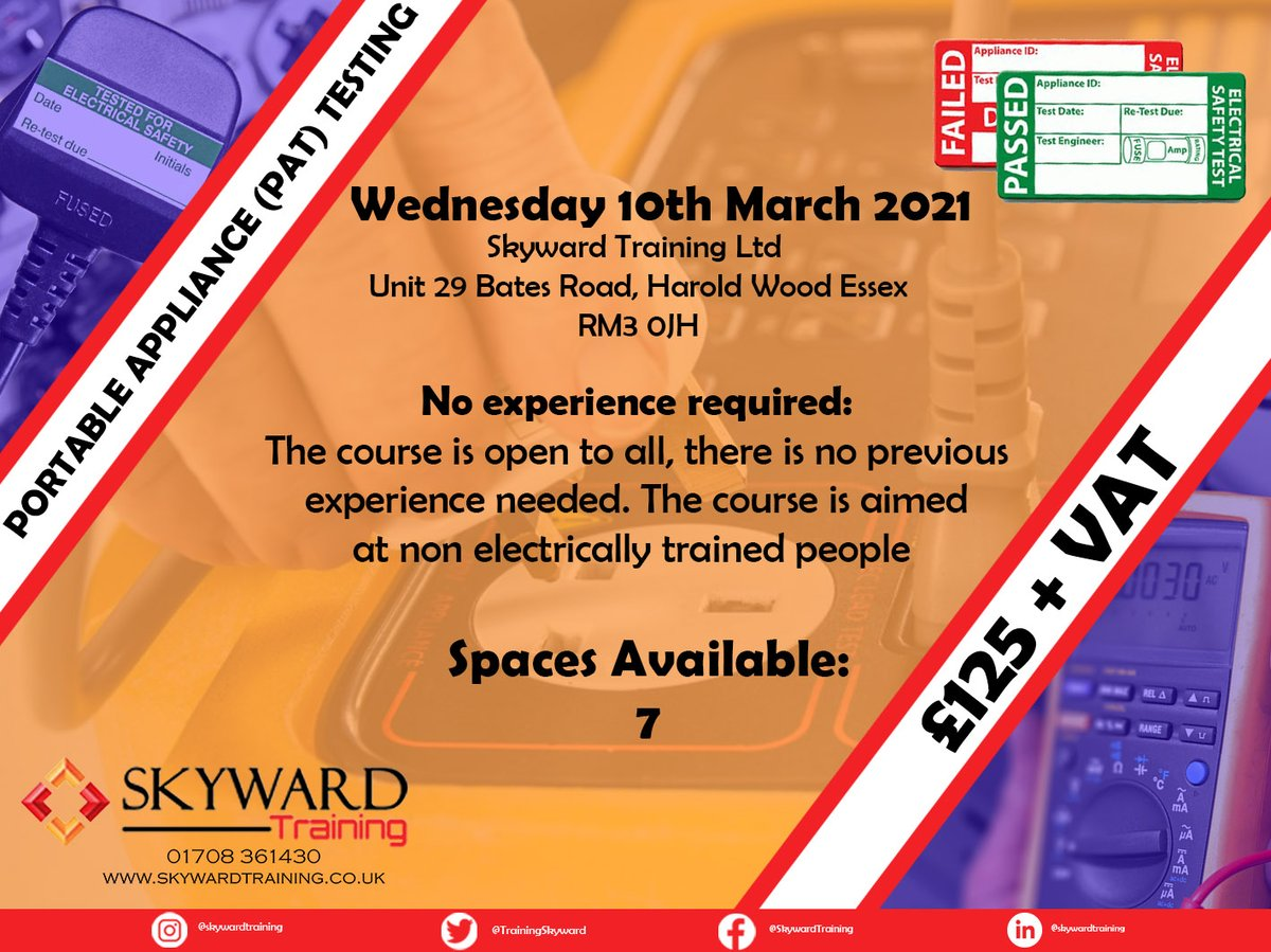 PAT Testing - Wednesday 10th March 2021 £125 + VAT 7 Spaces left Book Now! 01708361430  #construction #training #Skyward