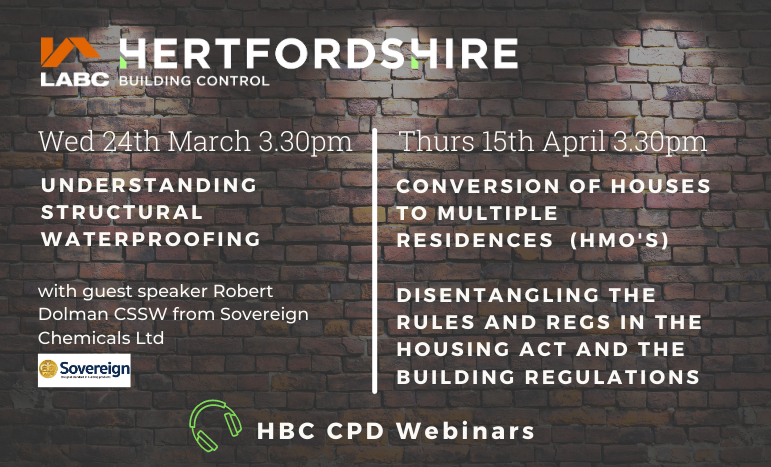 HBC 👷Upcoming CPD events -  We have CPD events coming up on 24th March- Structural Waterproofing and the 15th April - Conversion of Houses into Multiple Residences (HMO's). Click the link above to find out more and join us #CPD #Training&Development
