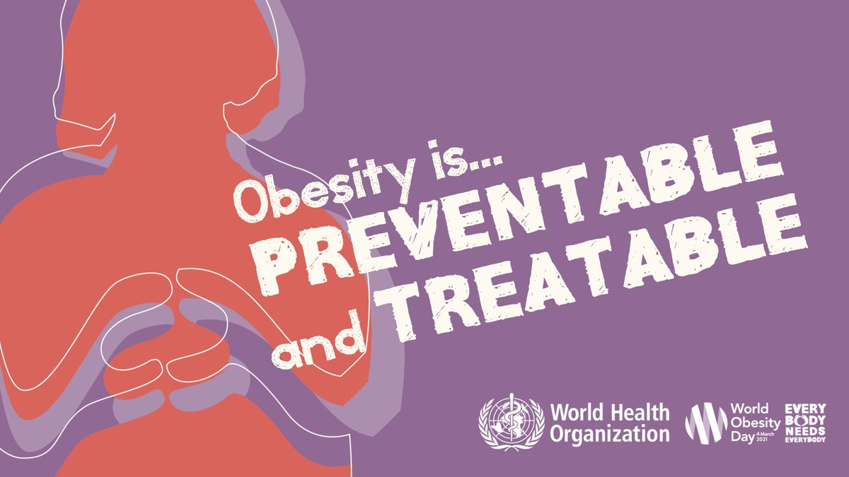 RT @WHO: Today is #WorldObesityDay.  🌎🌍🌏, obesity has nearly tripled since 1975.  Most of the world's population lives in countries where o…