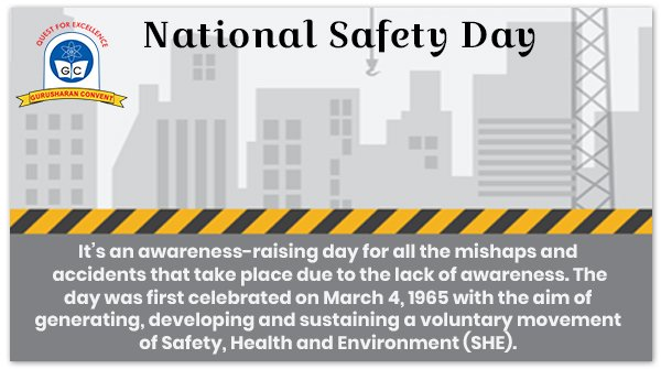 Have you shared your knowledge on National Safety Day with your friends and family?   #GurusharanConvent #Delhi #Nationalsafetyday #thursdaythoughts #NationalSafetyDay2021