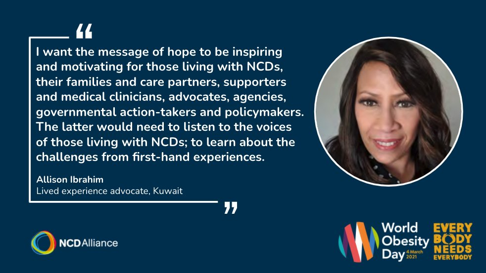Marking #WorldObesityDay, we would like to share Allison's message of hope - inspiring advocates, supporters, government action-takers and policymakers to LISTEN to the voices of people living with #NCDs. This is her message ⬇️  https://t.co/DanZxzbJ2H #NCDvoices #ActOnNCDs https://t.co/iv8AHMYlUD