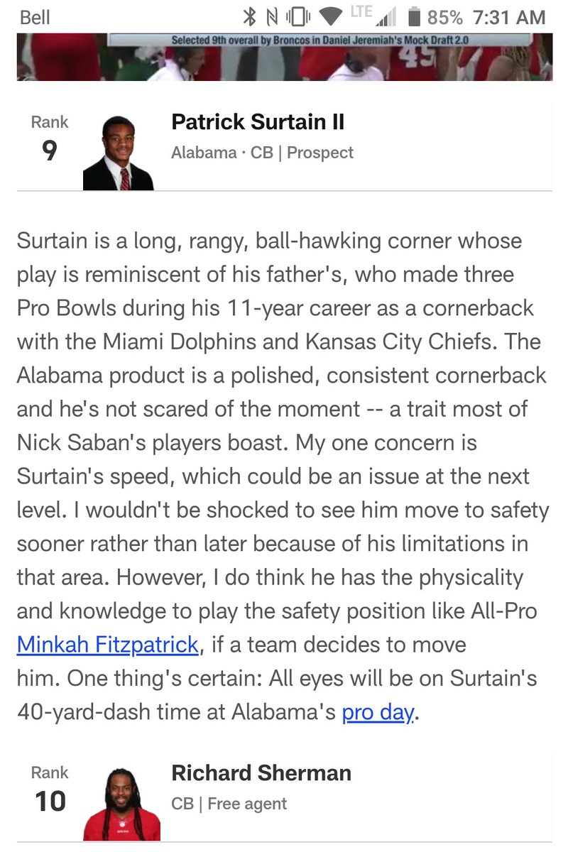 Further realizations that we're getting older- watching father play pro and then seeing son come into the #nfl too. Antoine Winfield for example and now Pat Surtain. Dad played a great ballhawking corner in KC and Miami. Impressive father/son tandem #Old #ChiefsKingdom #dolphins