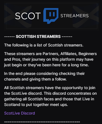 Saw #TwitchAffliate trending so maybe you guys will be interested in checking out 540 Scottish🏴 Streamers you can find on my about page on Twitch!