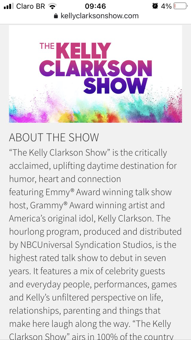 """featuring Emmy® Award winning talk show host, Grammy® Award winning artist and America's original idol, Kelly Clarkson"". Ai eu amo demais a aclamação da lenda"