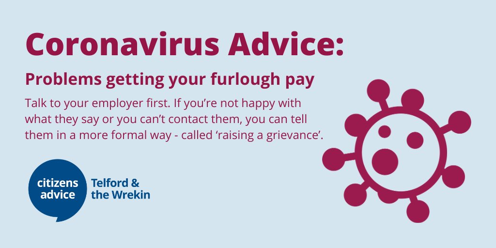 Problems getting your furlough pay.  There are things you can do if you:    ☑️ haven't had any furlough pay yet but think you should ☑️ think you've been paid the wrong amount ☑️ think your employer is keeping your furlough pay    #Telford #NationalLockdown