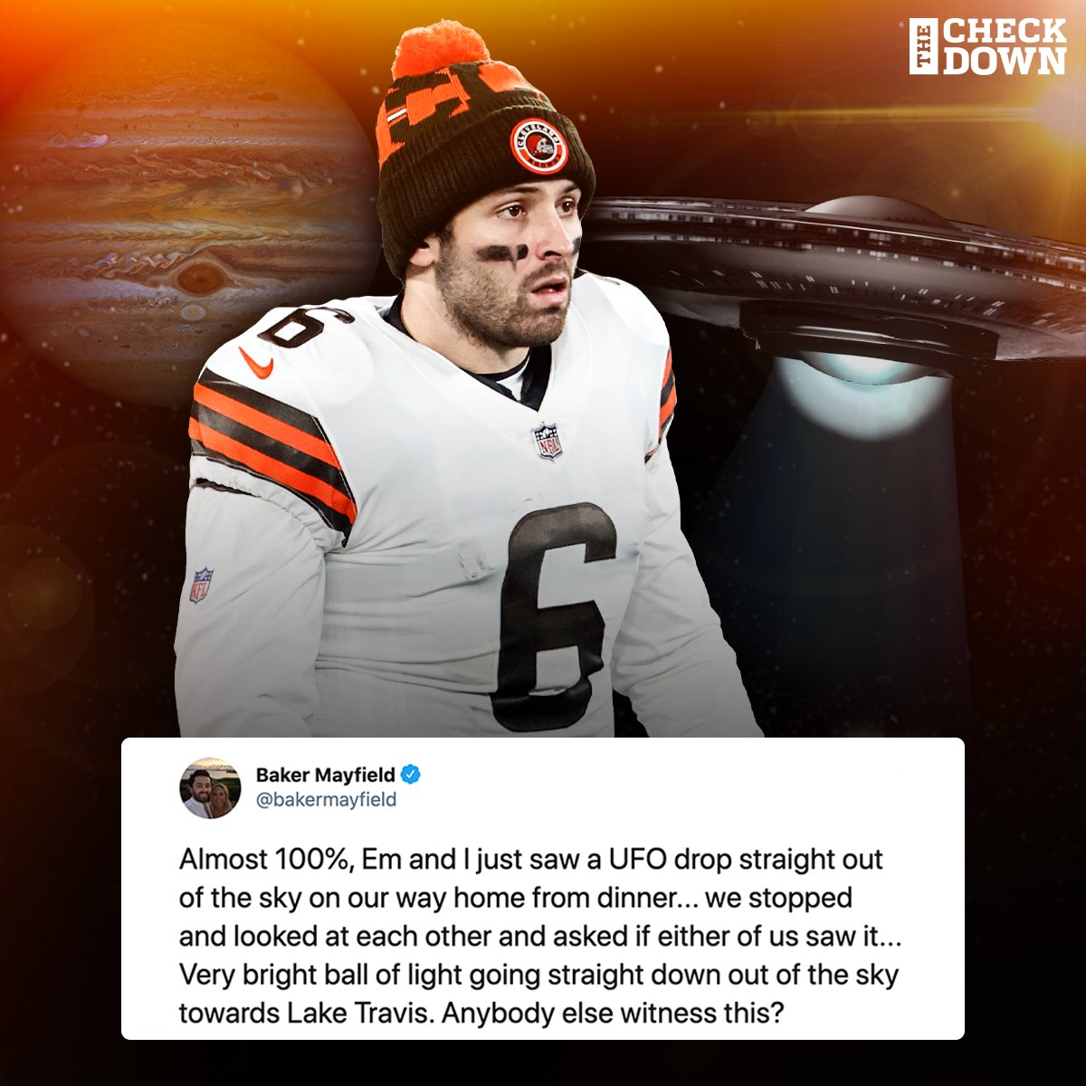 You see a UFO drop out of the sky... wyd? 😳🛸 @bakermayfield https://t.co/y1WOf8XUTn