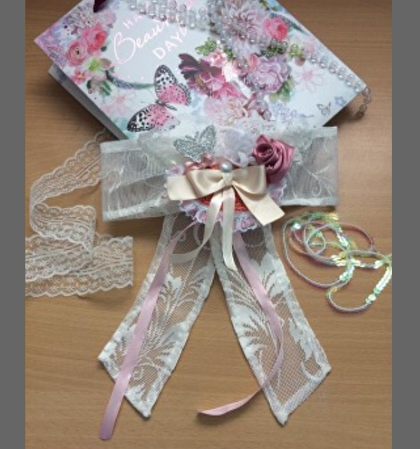 unusual Lace hair bow Lace wedding bow, curtain tie back,  Lace and pearl Bows, cream Pink Satin ribbon Pink flower and butterfly #Wednesdayvibe #WeddingPlanner #weddinghour #decor @cutandbrush