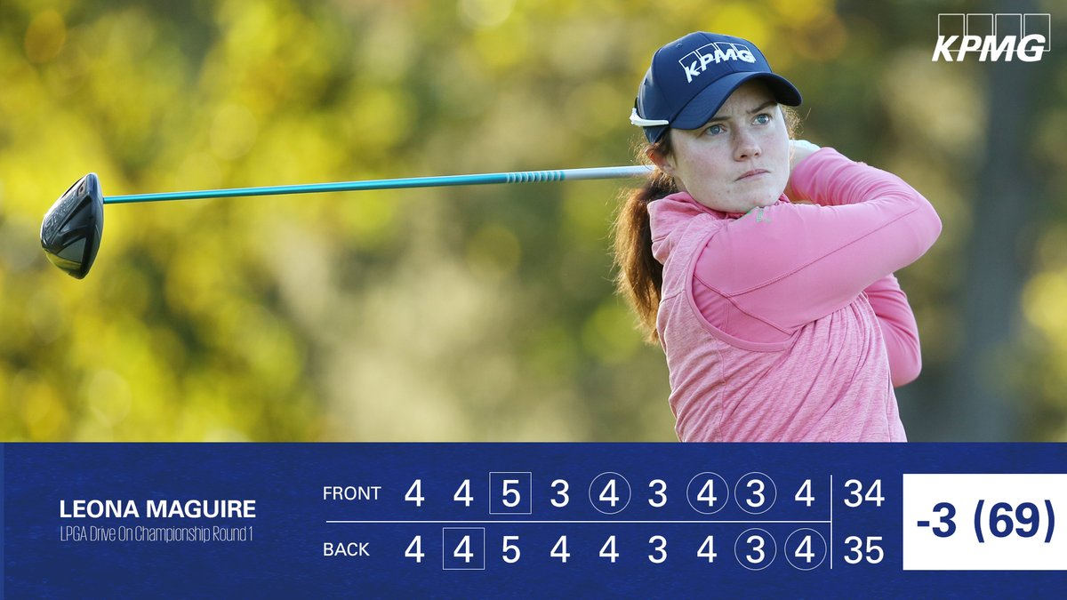 Another great opening round by @leona_maguire!  She birded her last two holes to get to 3-under and is only two shots off the current leaders. #TeamKPMG
