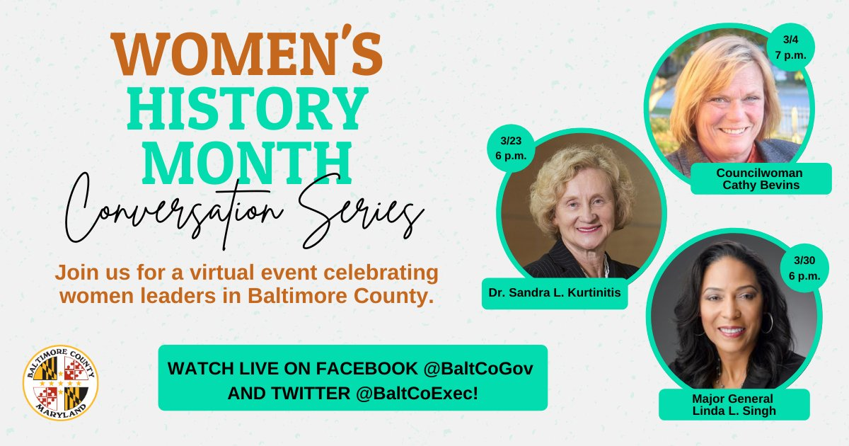 Very excited to start our #WomensHistoryMonthConversation Series tonight with @CathyCouncil6! Looking forward to a dialogue about how we can continue promoting a more equitable and inclusive County.
