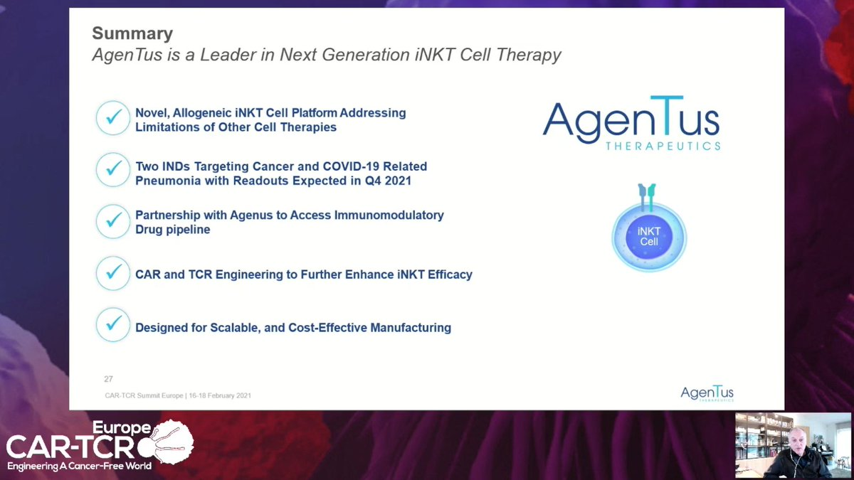 test Twitter Media - $AGEN & @Agentus_CellTX CTO Dr. Marc van Dijk spoke @CAR_TCell #CARTEU about the potential of iNKT #celltherapy, clinical plans in #cancer & #Covid_19, & combination potential w Agenus' checkpoint antibodies. Watch the replay for more insights: https://t.co/OSwav5khv1 https://t.co/WHtUAcw3p5