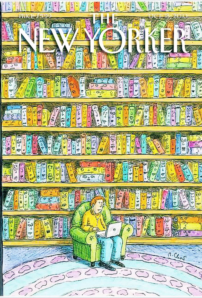 Hope at least he's #reading a #book! 📚 #WorldBookDay   #illustration @NewYorker #cartoon by Roz Chast