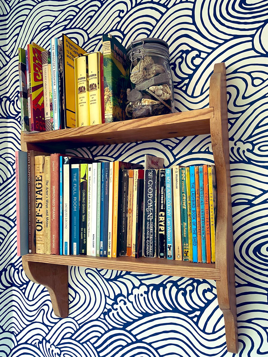 My carefully curated World Book Day #shelfie vs. the haphazard & frankly dangerous reality of what all the actual bookshelves in my home look like #WorldBookDay #shelfie