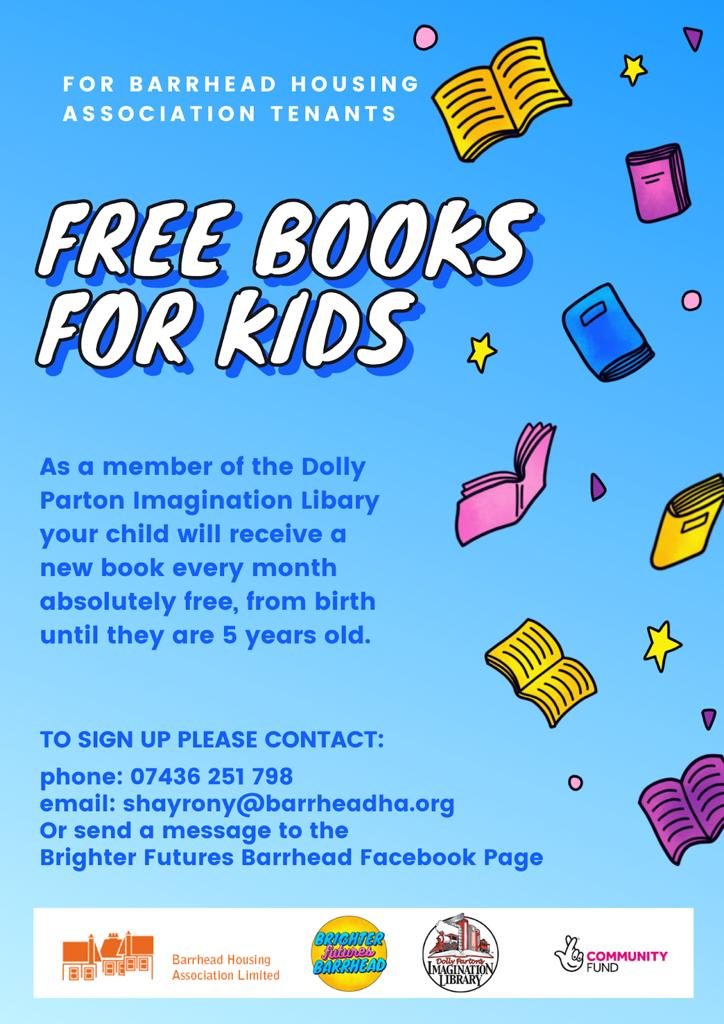 Delighted to announce on #WorldBookDay the launch of our new partnership with @dollyslibrary funded by the @TNLComFundScot FREE books for under 5s. Contact us on how to sign up!