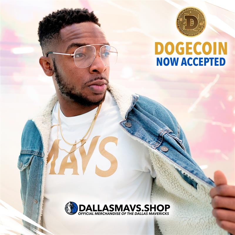 .@dallasmavs are the first to accept Dogecoin payments! Mavs Fans for Life (MFFLs) can now use Dogecoin to buy tickets and merchandise online @dallasmavsshop, making Mavericks merchandise more accessible! Learn more:  Image: @dallasmavs @mcuban