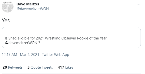 #Shaq is a lock for next year's #WON Rookie of the year. #DaveMeltzer
