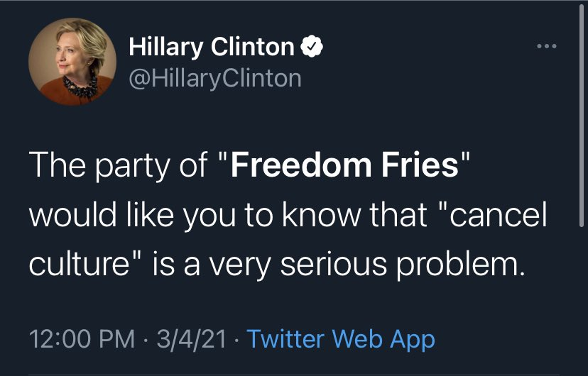 """Hillary Clinton has """"Freedom Fries"""" trending in 2021."""