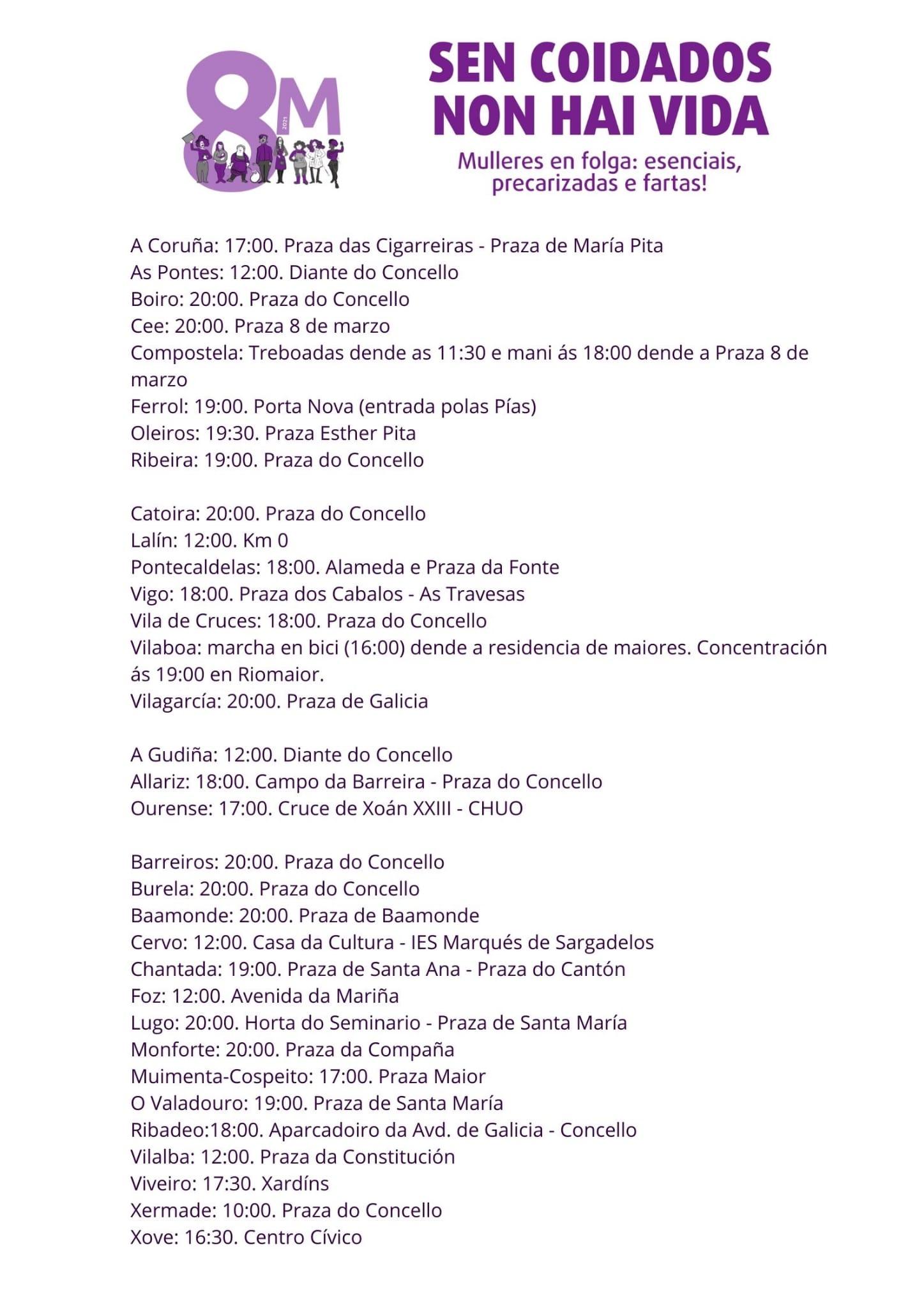Cartel con las convocatorias de Galegas 8M para este lunes en toda Galicia