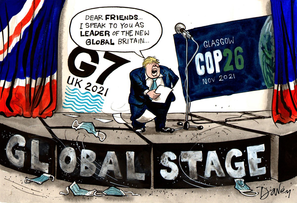 Andy Davey on #G7 #BorisJohnson #COP26 – political cartoon gallery in London