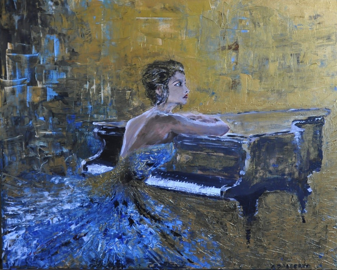 """#piano, #woman, #brunette, #music, #play, #silence, #fairy #tale, #princess, #beautiful, #parting, #look; #giftidea, #fashion """"every tale ever ends"""" 100x80 cmacrylic on canvas"""