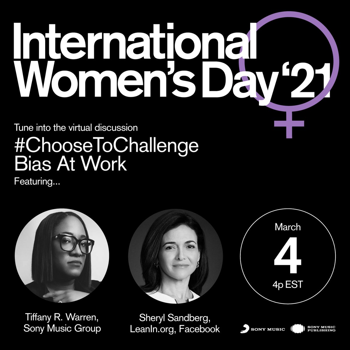 Today at 4 pm EST, tune into a discussion about challenging bias in the work place featuring Sony Music Group's Tiffany R. Warren (EVP, Chief Diversity & Inclusion Officer) and Sheryl Sandberg ( Founder, COO at Facebook). Watch here: