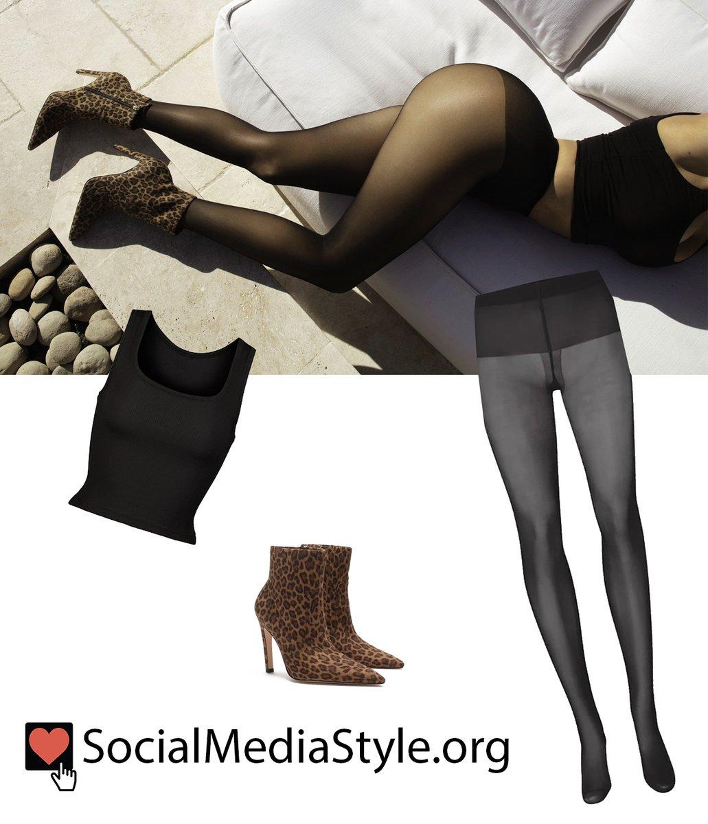 Buy @khloekardashian's @Skims black tank top and tights and @GoodAmerican leopard print boots here:  #KhloeKardashian #kuwtk #Skims #tanktop #croptop #tights #GoodAmerican #leopardprintboots #leopardprint #leopardboots #boots #booties #ankleboots