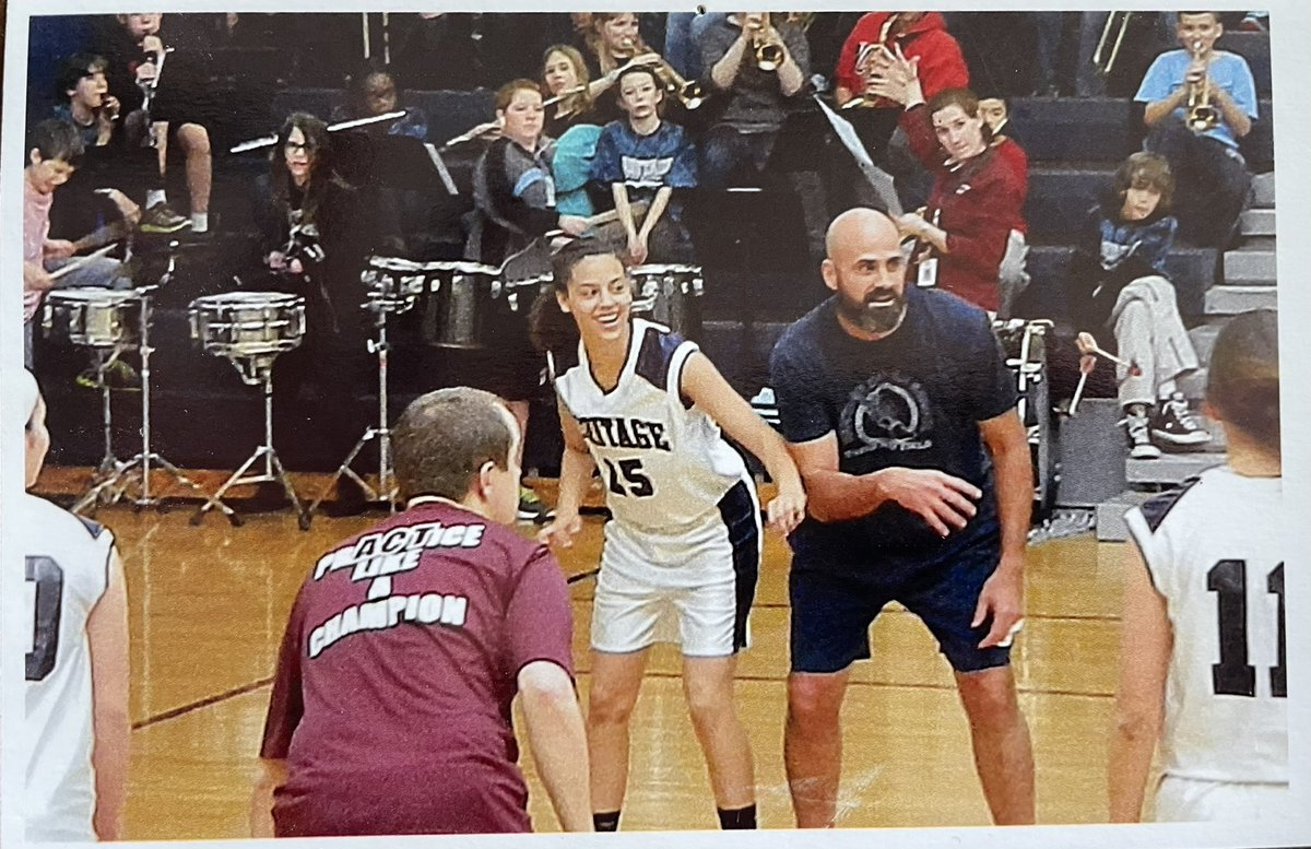Found this while cleaning up my home office.  #TBT from Student vs Staff Basketball.  I miss building relationships with my students. This young lady was fierce... on the court and in the classroom.