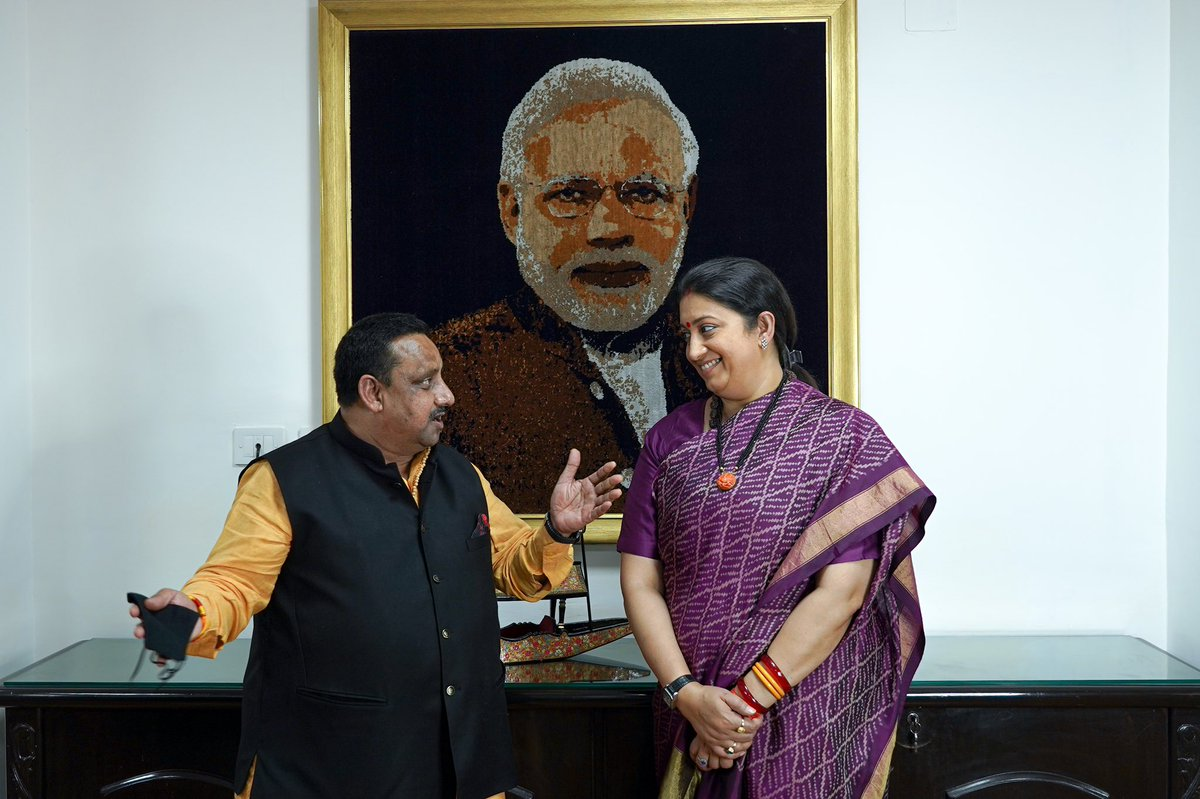 Had detailed discussion with Smt @smritiirani ji today about commitment of @CAITIndia for encouraging women entrepreneurship across Country as a part of mission program of PM Shri @narendramodi ji. Artisans & innovative startups of women at the core of agenda @PiyushGoyal