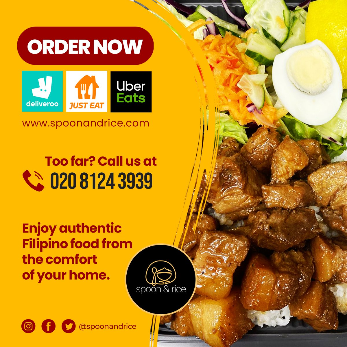 Can't wait to put this in your mouth? #MARCHarap na Mabuhay Filipino Adobo only from #spoonandrice  Order now via , #Deliveroo, #JustEat and #UberEats. We're open for deliveries from 11:00 AM to 9:30 PM! . . #thursdayvibes  #londonfoodie  #filipinofood