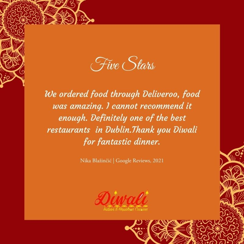 What lovely words from Nika who tried our food from @Deliveroo recently. Thank you so much for ordering and we hope to see you again very soon.   If you want to leave a review please visit  #Diwali #GeorgesStreet
