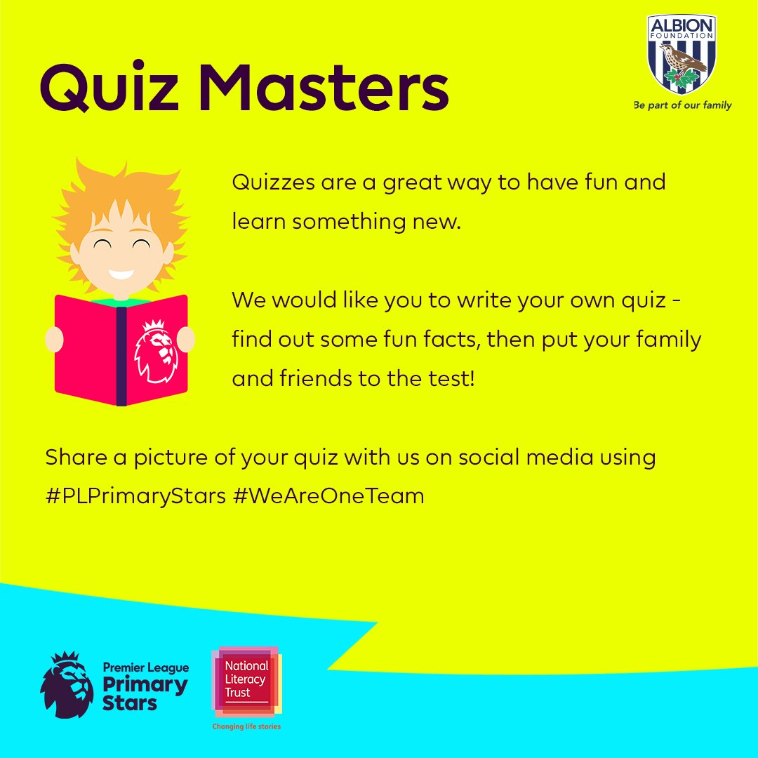 Its time for this weeks @PLCommunities #PLPrimaryStars Challenge!  Get creative and write a quiz 📝  #WBA