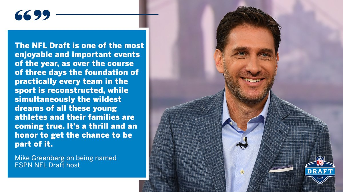 Mike Greenberg named host of ESPN's #NFLDraft telecast  Leading ESPN voice adds #NFL signature event to venerable broadcasting portfolio months ahead of his 25th ESPN anniversary  He'll be the 3rd ESPN NFL Draft host in the past 3 decades & 5th all-time