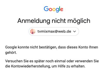 Dass dieses ihnen google konnte gehört nicht bestätigen konto Google konnte