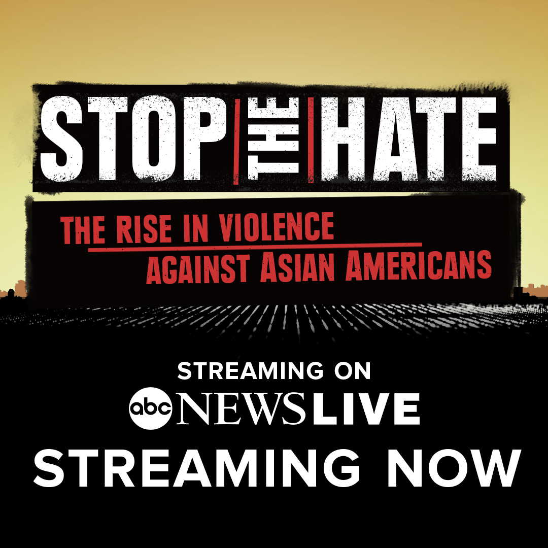 """STREAMING NOW: Join @JujuChangABC and @EvaPilgrim for """"Stop the Hate,"""" a live special focused on hate crimes against the Asian American Pacific Islander community and rising activism in response.   On @ABCNewsLive, @hulu or your favorite streaming device."""