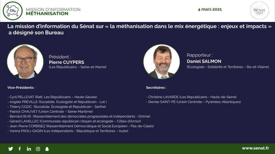 Constitution de la mission d'information sur la #Methanisation demandée par notre groupe @ecologistesenat. @Senateur_Salmon rapporteur.