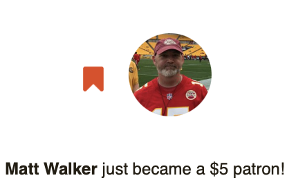Big thanks  to our newest #Patreon subscriber @MWalkerDesign. Im excited to see what your like for your exclusive episode!