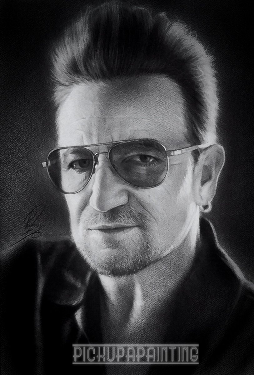 #guesswhoportrait was guessed correctly as bono @U2  New #art #portrait #painting