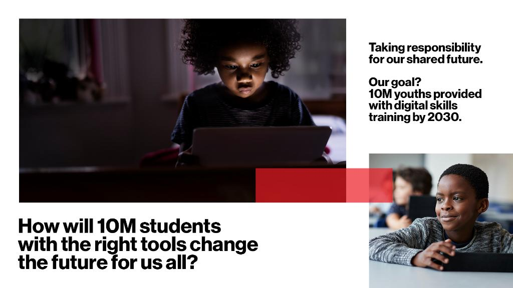 A society is only as far along as its furthest left behind. At Verizon, we're working to bridge the digital divide by providing 10M students w/ digital skills training by 2030. Learn about #CitizenVerizon, our plan for moving the world forward for all, at