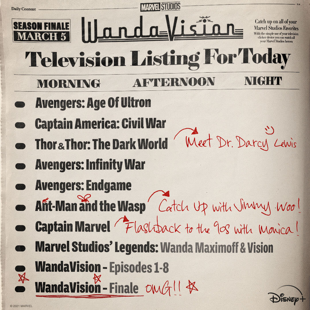 A Marvel Studios publicou uma lista de filmes para ver e entender os elementos da série antes do #WandaVisionFinale  'Thor' e 'Thor: O Mundo Sombrio' estão listados para entender mais sobre a #DarcyLewis 👀