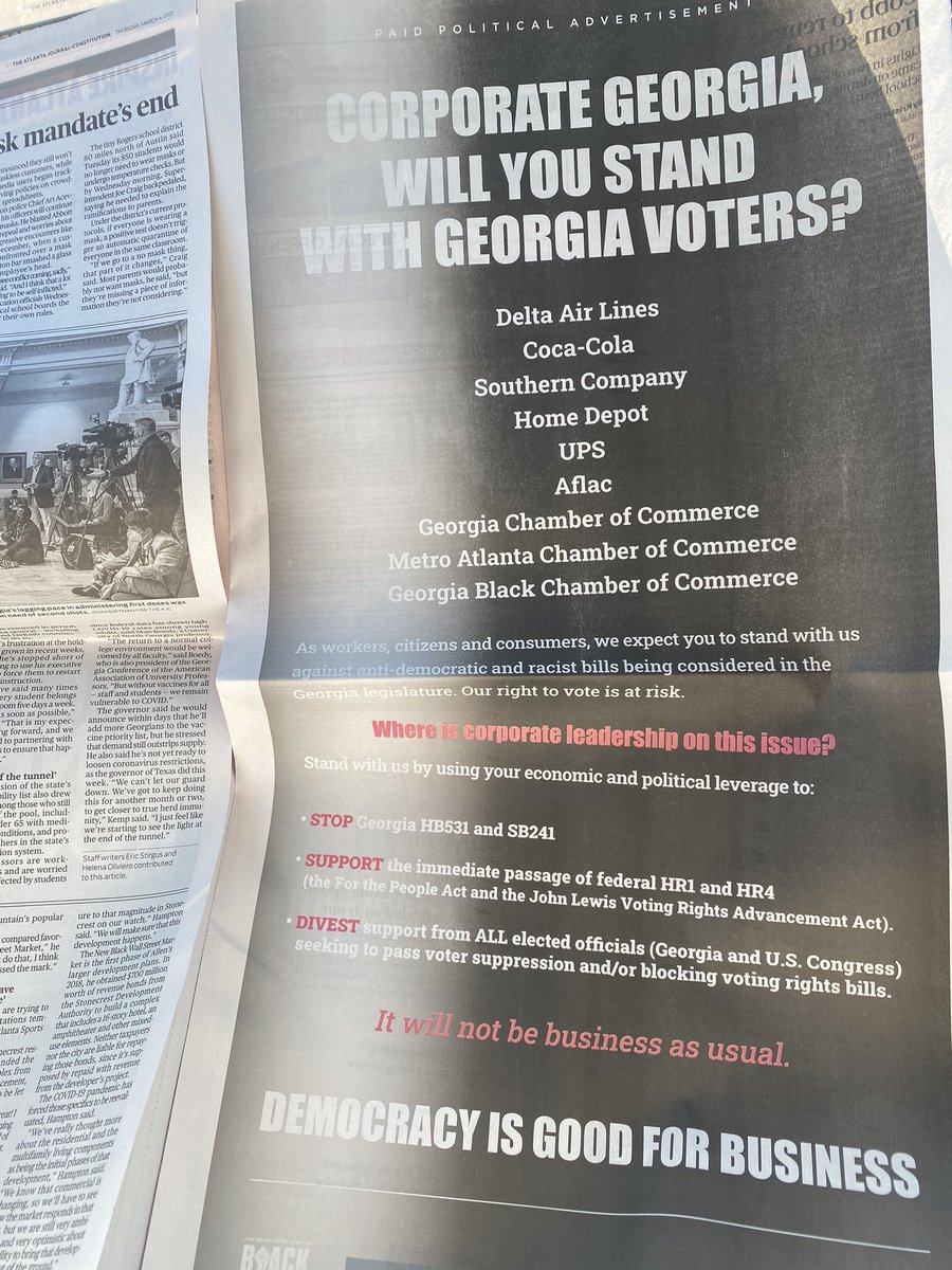 Make sure y'all get your AJC paper today. We took out a full page ad with our partners New Georgia Project Action, Georgia Stand- Up and the Georgia NAACP.   Corporate Georgia has a responsibility to stand with us to defeat these racist and anti- democractic bills.
