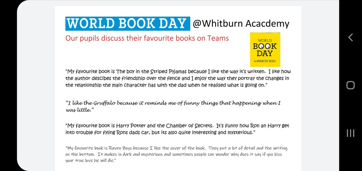 On @WorldBookDayUK our pupils talk about their favourite books 📚 @WhitburnAC @wacliteracy @fvwlriclit @WACHumanities @john_boyne @jk_rowling @mstiefvater #JuliaDonaldson #WorldBookDay #readingforpleasure
