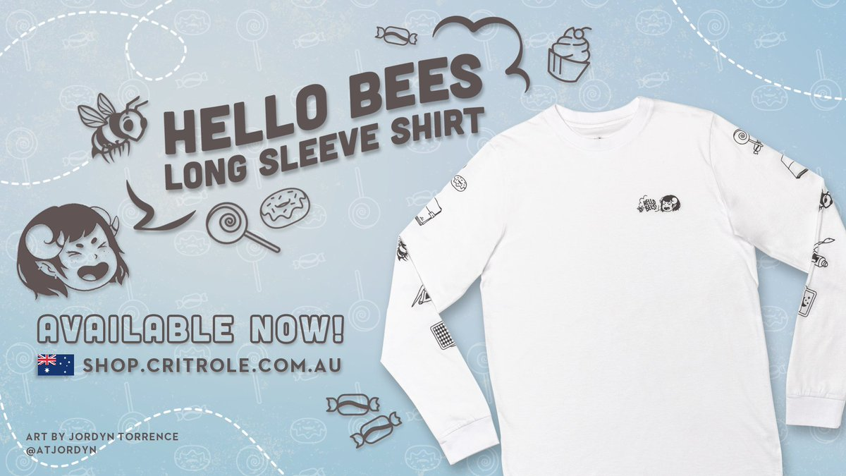 Flutter by in our Hello Bees Long Sleeve Shirt featuring Jester on the left chest shouting her iconic greeting for the world to hear! Available now in our AU shop and will be arriving at our other locations soon! Art by @atjordyn.   🇦🇺