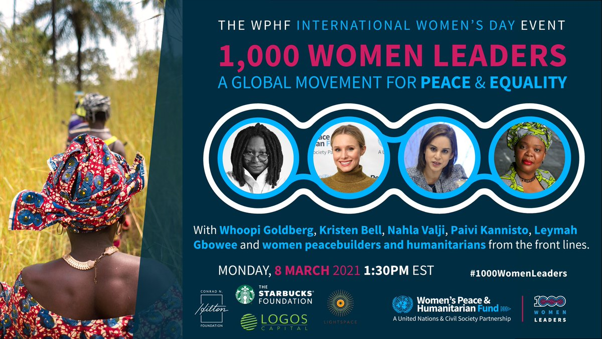 Around the 🌍 women's contributions are key to building lasting peace!🕊️  Join us to amplify the voices of local women leaders on the frontlines!  REGISTER NOW for the @wphfund #1000WomenLeaders campaign launch event on #IWD2021 !  📅8 Mar ⏰1.30 pm EST 👉https://t.co/LSE3eC09db https://t.co/ggCa9z7Z5m
