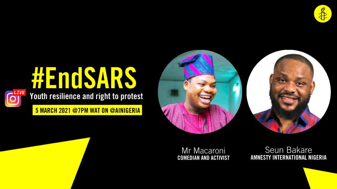 Join us as I engage @mrmacaronii in an instalive session to discuss youth resilience and right to protest in Nigeria.