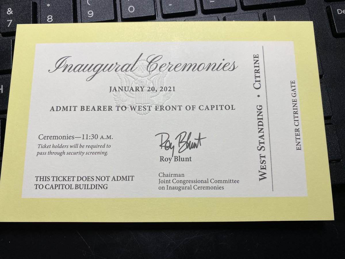 Received my #BidenHarris2020 Inauguration ticket and program in the mail yesterday. #BetterLateThanNever #Inauguration2021