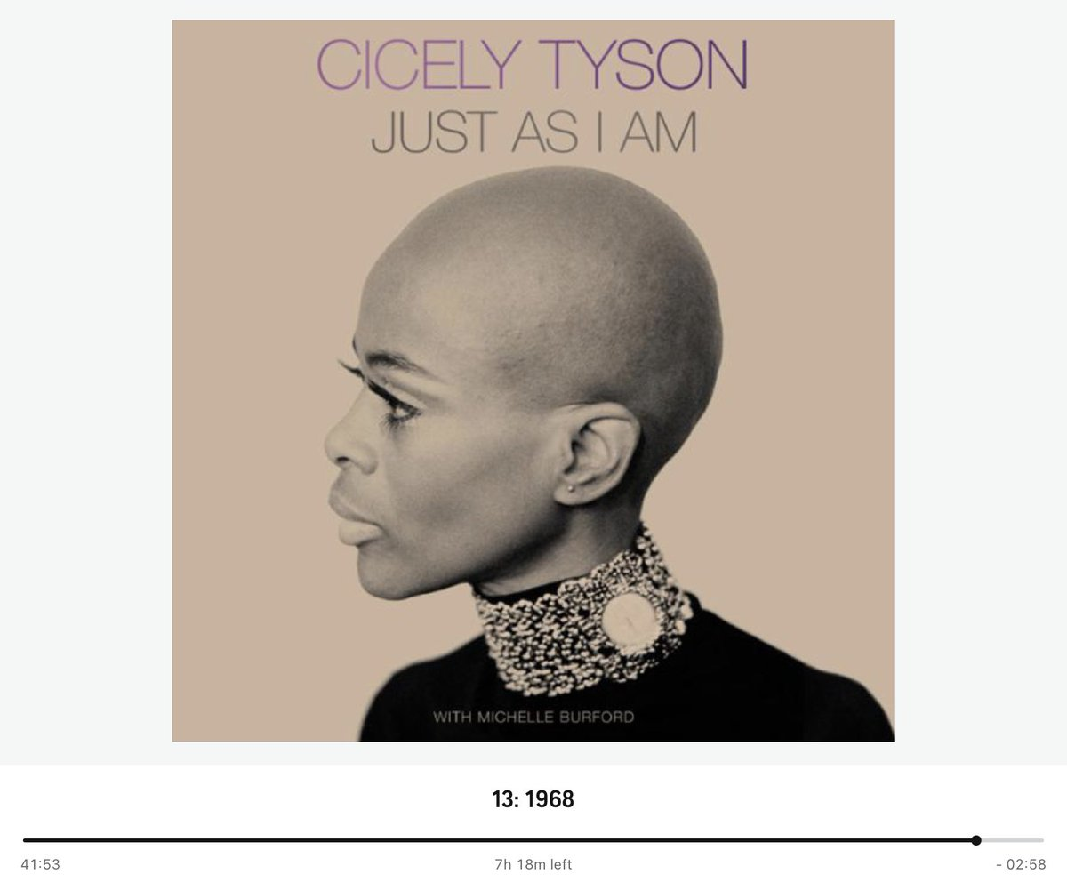 My current listen and I'm really enjoying it.  Ms. Tyson's life was very interesting.  #cicelytyson #justasiam #audible